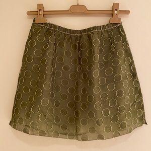 J. Crew green polka dot skirt